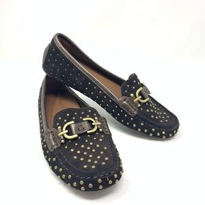 Donald J. Pliner | Brown Suede Studded Loafers